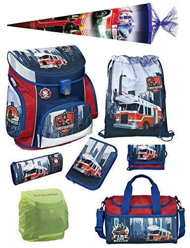 Familando Scooli Schulranzen-Set 8 TLG. Feuerwehr-Auto mit Federmappe, Sporttasche, Schultüte 85cm und Regenschutz Fire-Fighter (Fighter Hat Fire)