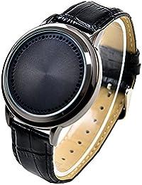 Fashion piel banda pantalla táctil LED relojes para hombres/mujeres con dial de forma de árbol azul luz pantalla time-black