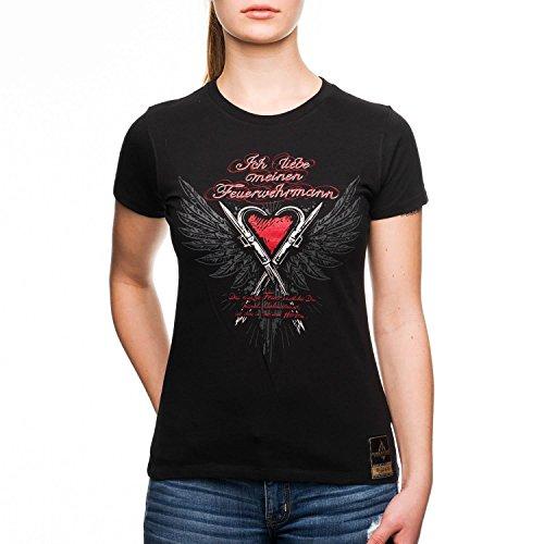 FIRE & FIGHT Streetwear® 'Ich liebe meinen Feuerwehrmann' Ladys Premium T-Shirt / schwarz, Größenauswahl:L (Emt-schwarz T-shirt)