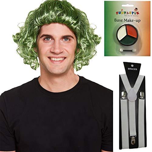 Labreeze Perücke, für Erwachsene, Grün, Schokoladenfabrikation, Gesichtsbemalung, Hosenträger UMPA Lumpa