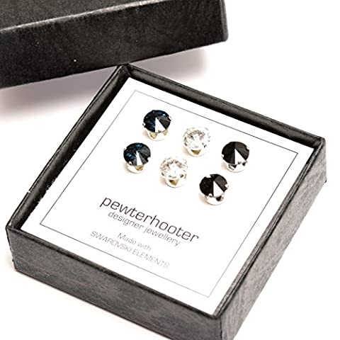 pewterhooter 3 Pairs of Men's 925 Sterling Silver stud earrings expertly made with Jet, Sparkling clear and Montana Blue crystal from SWAROVSKI®.