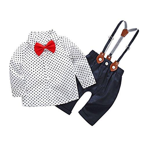 Blaward Neugeborene Baby Boys Taufe Outfits Sterne Bowtie Shirt + Strap lange Hosen Set