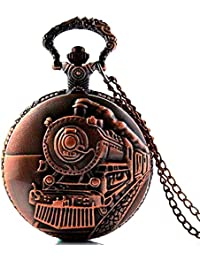 "Dice ""Leader Pocket Watch –RG402"" Unisex Antique case Classic Vintage Brass Rib Chain Quartz, Rose Gold Metallic Tone. Outer Body Shows Unique Embossed : Large Steam Engine Train Simulated."
