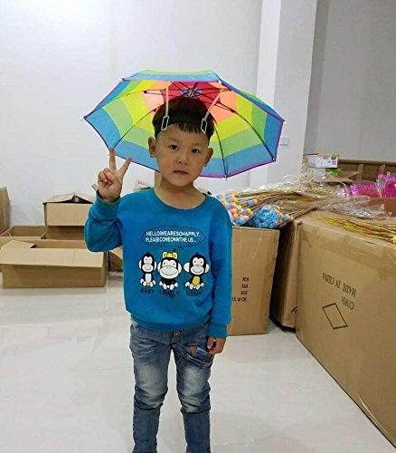 Genven Outdoor Angelschirm Sonnenschirm Regenschirm Regenschirm Hut Regenbogen Schirm Hut (Regenbogen Regenschirm Hut)