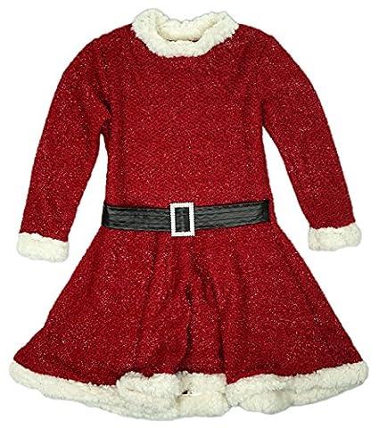 Mädchen Miss Santa Pelzrand Glitzer Weihnachten Weihnachtsfeier Kleid größe von 2 bis 14 Jahre - Wein, 10 (Ziemlich Weihnachten Kleider Für Mädchen)