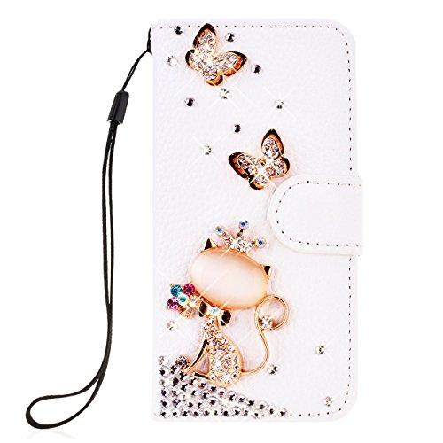 SMARTLEGEND PU Pelle Cover per Nokia Lumia 650,Interno Rigida Leather Wallet Stand Case per Porta Carte di Credito, Disegno di Cristallo Bling Strass Diamond Protettiva Portafoglio Custodia Bianco Caso con Cordoncino - Corona Gatto