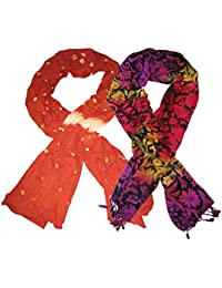 Goodluck Cotton Scarf Set Of Two Mullticoloured Stoles; Scarf And Stoles For Women … - B06X18FQWL