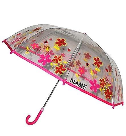 Regenschirm - Blumen & Marienkäfer - Kinderschirm transparent incl. Namen - Ø 76 cm - Kinder Stockschirm - für Mädchen Jungen Schirm Kinderregenschirm / Glockenschirm Käfer rot