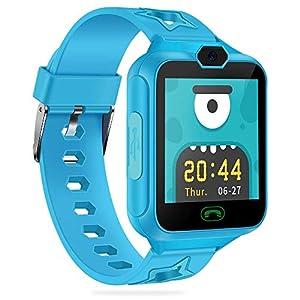 AGPTEK Smartwatch Niños con 8GB SD Tarjeta, Reloj Inteligente para Niños con Hacer Llamada, SOS, Cámara, Música, Juegos y Despertador, Regalo para Niño Niña de 3-12 años, Azul
