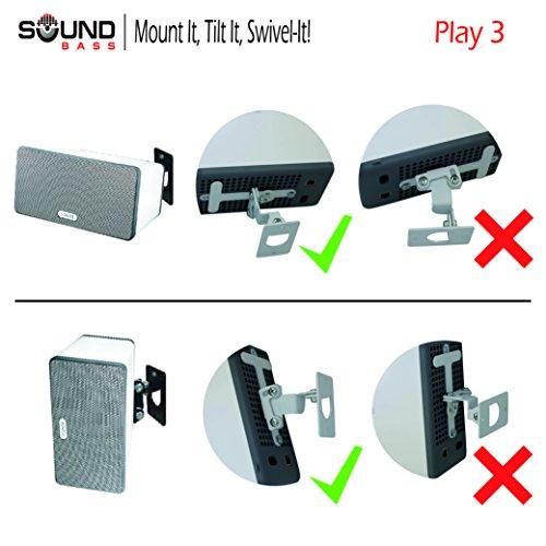 2 x SONOS PLAY 3 Wandbefestigung, Anpassungsfähiger Drehpunkt & Neigungsmechanismus, Einzelhalterung für Play:3 Lautsprecher mit Befestigungszubehör, Weiß, In GB durch Soundbass® gestaltet Doppelpack (2 Stück) - 3