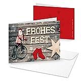 10 Stück Weihnachtskarten rot grau Santa Weihnachtsmann 14,8 x 10,5 cm MIT KUVERT Klappkarte Weihnachten weihnachtlich Doppelkarte Holz-Optik Sterne rustikal
