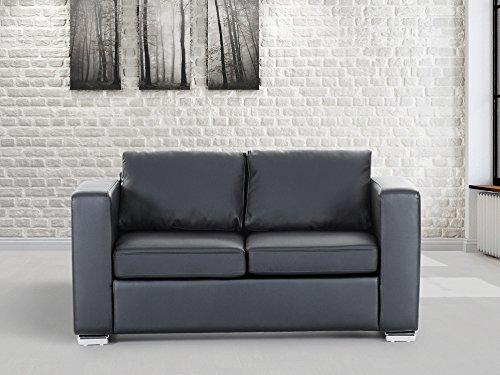 Divano Nero Moderno : Divano nero sofa 2 posti divano in pelle divano moderno