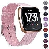 KIMILARFitbit Versa Armband Stoff, Schnellspanner Nylon Ersatzband Armbänder mit Edelstahl Handgelenk Verschluss für Fitbit Versa Smartwatch - Pink