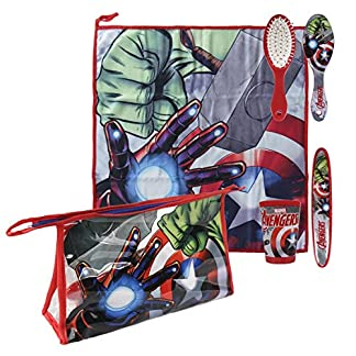 Avengers-2500000686 Set Neceser higiene Comedor Escuela (Artesanía Cerdá 2500000686