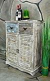 Livitat® Kommode Schrank mit Schubladen Landhaus Shabby Chic Vintage Weiß Braun LV1007