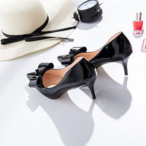 Lackleder Mit Damen Schleife Rutschhemmend Strapazierfähig Stiletto Slip Spitz heels High Elegant On Modisch Zehen Schwarz Verziert Pumps YxTqTXwF