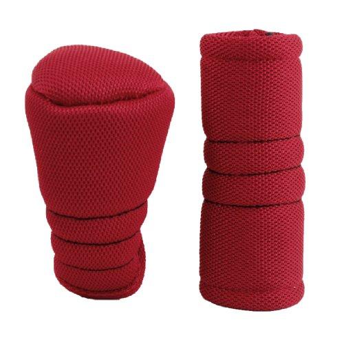 sourcingmap® 2 Stk Reißverschluss Auto Schalthebel Schaltknauf Handbremse Abdeckung Bezug Rot