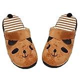 Zarupeng Lovely Cartoon Panda Home Floor Soft Stripe Slippers Zapatos de mujer (40, Café)