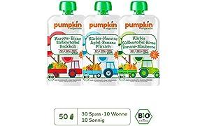 Pumpkin Organics ÜBERRASCHUNGSPAKET Bio Gemüse Quetschies, 50er Pack (50 x 100g) - Snacks für Kinder und Babys ab dem 6. Monat