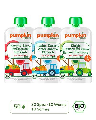 Preisvergleich Produktbild Pumpkin Organics ÜBERRASCHUNGSPAKET Bio Gemüse Quetschies,  50er Pack (50 x 100g) - Zwischenmahlzeit für Babys ab dem 6. Monat