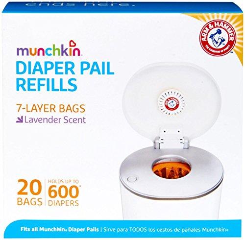 Munchkin Arm & Hammer - Bolsas de repuesto para cubo de pañales, 20 unidades