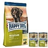 Happy Dog Neuseeland Premium Hundefutter | Gratis-Zugabe von 2 x 400 g Dosen Lamm pur | Hypoallergene Formel