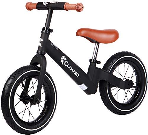 """Clamaro \'Roadstar\' 12\"""" Kinder Laufrad ab 1 Jahr für Jungen und Mädchen, Balance Lauflernrad mit leichtem 3,6 kg Magnesium Aluminium Rahmen, Luftreifen und mitwachsendem Sitz und Lenker, schwarz/braun"""