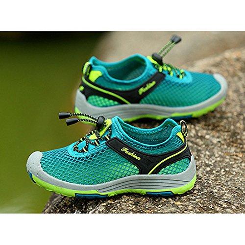 CAIJ Jungen Mädchen Hohl Atmungsaktiv Mesh Wandern Laufschuhe Sportschuhe Turnschuhe für Kinder Pfauenblau