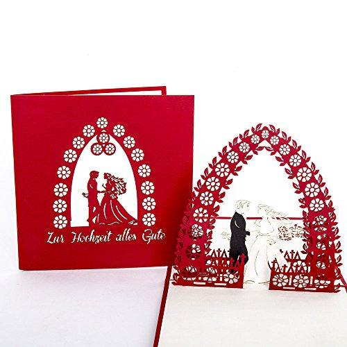 """Pop-Up Karte """"Brautpaar – Zur Hochzeit alles Gute"""" Hochzeitskarte, Glückwunsch, Verlobung, Hochzeitspaar, Hochzeit, Glückwunschkarte, Pop-Up, 3D Karte, Karte"""