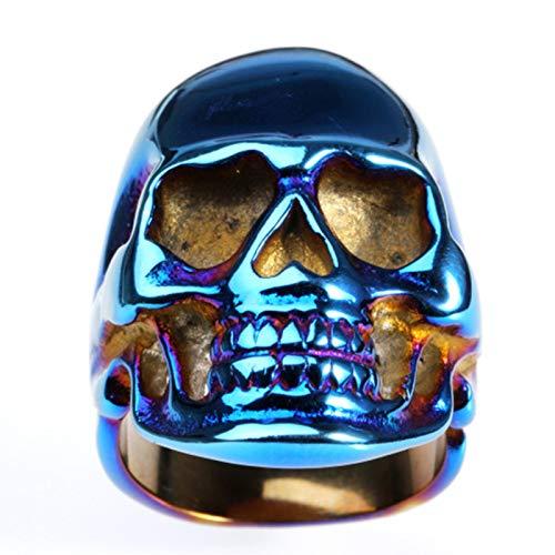 Beydodo Titan Herren Ring Schädel Totenkopf Gothic Ring Blau Partnerring Gr.62 (19.7) - Schädel-ringe-titan