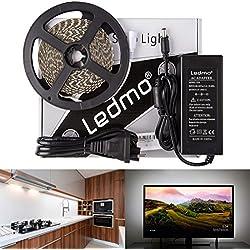 LEDMO Cinta LED, Cinta led de luz blanco 6000K, SMD2835-600leds 12V IP20 no Resistente al Agua 5m alta luminosidad 15LM/LED, alta CRI80 cinta de led para la iluminación del gabinete de cocina, dormitorio, contraluz de TV, decorativa, Kit Completo con fuente de alimentación 12V 5A.
