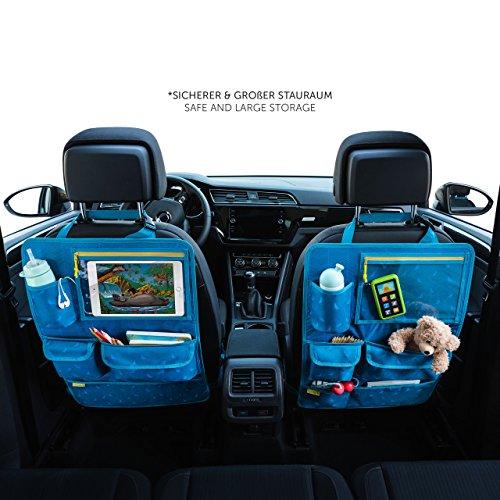 Kinder Autositz-Organizer und Rückenlehnenschutz - Autositzschoner, 8 Fächer, mit Tablet-Halter, blau