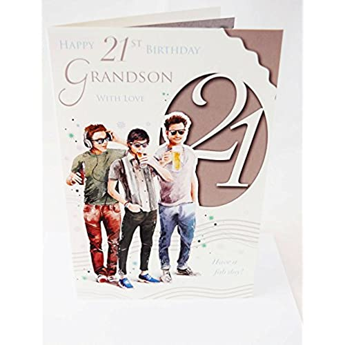 21st birthday cards for him amazon happy 21st birthday grandson card elegant mens lovely verse male modern 21 card bookmarktalkfo Gallery