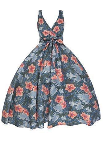 Neu Damen Retro Vinatge 1950er Rockabilly Blumen Party Swing Kleid Grau