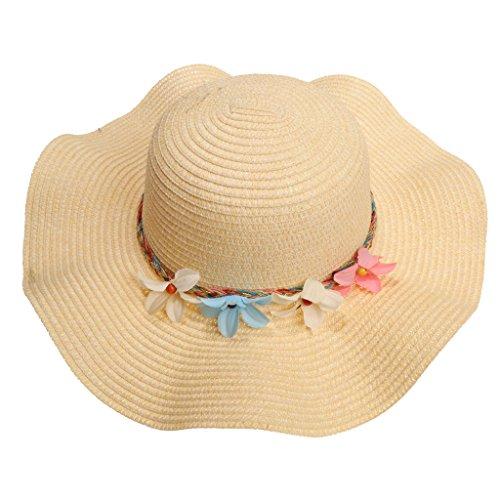 MagiDeal Damen Sonnenhut Sommer Hüte Strohhut Strand Kappe Groß Krempe Mütze mit kleinen Blumen für Hawaii Party Sommerparty Strandparty Reise Urlaub - Beige, vier kleine Blumen