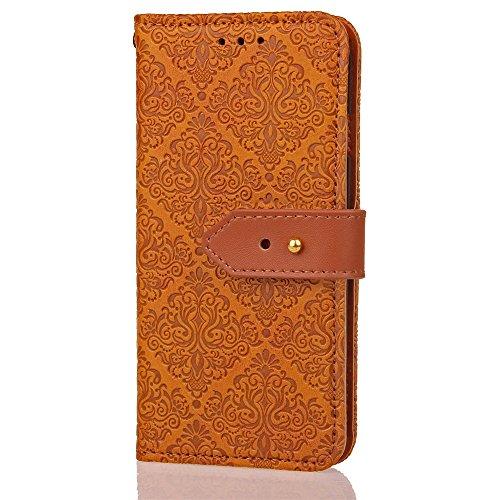 EKINHUI Case Cover European Mural Embossed Style Flip Stand Decke Geldbörse Tasche mit Nivellier Leder Gürtelschnalle für Huawei P10 ( Color : Gray ) Khaki