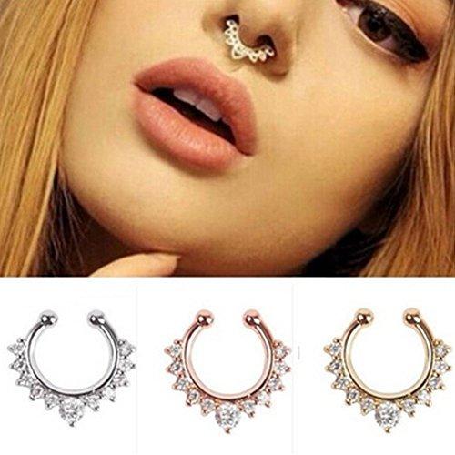 Bodya Lot de 3anneaux femme à zircon cubique pour faux piercing de septum nasal Argent plaqué or rose all 3 color