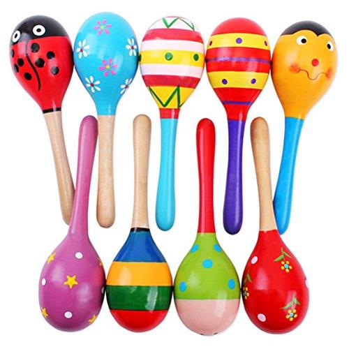 Drawihi 1 Stück Babys Kinder Holz Rasseln Spielzeug Musikinstrumente Sand Hammer für Jungen und Mädchen Lern-Spielzeug Training der auditiven Trainingsfähigkeit, 12cm (Zufällige Farbe)