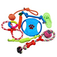 10 Pcs Pet Puppy Toys Gift Set Ball Rope and Chew Squeaky Toys for Dog Cat