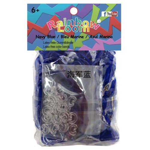 Rainbow Loom Official Marine-blau JELLY Rubber Bands Refill 600 count + 24 C-clips