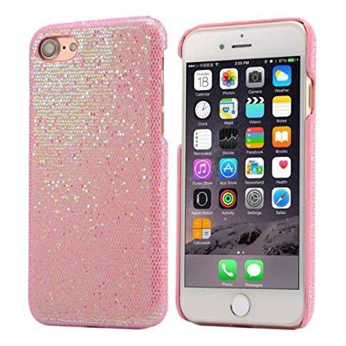 Apple iPhone 7 4.7 inch Coque Protection Case, Spécial Texture Coloré Serie Diverses Couleurs Mince Poids Léger Briller Luxe Joli Dur Housse de protection rose