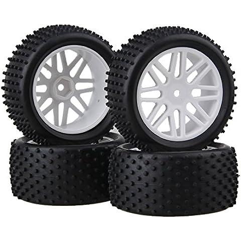 DN parte posterior del frente del borde de la rueda de goma de los neumáticos Neumáticos 66012-66032 para RC 01:10 Off-Road (paquete de 4)
