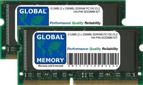 GLOBAL MEMORY Arbeitsspeicher-Kit für Laptops/Notebooks - 512 MB (2 x 256 MB) PC100 100 MHz 144 Pin SDRAM SODIMM - 256mb Sodimm Laptop-pc