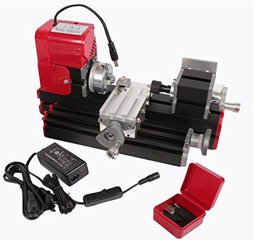 Wisamic Motorisierte Mini Metallbearbeitung Drehmaschine Drehbank Heimwerkerutensilien Metall Holzverarbeitung für die Pädagogik der Naturwissenschaften Hobby Modellbau Werkzeug