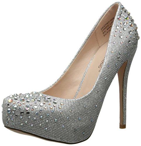 PleaserDestiny 06R - Scarpe con il tacco donna , Argento (Silver (Slv Glitter Mesh Fabric)), (6 Sexy Silver Shoe)