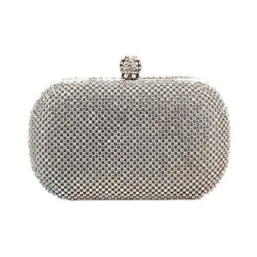 HIDOUYAL Damen Clutches Abendtaschen Handmade Kupplung Umhängetasche mit Kette Silber