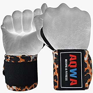 AQWA Power Weight Lifting Wrist Wraps Support Gym Training Fist Straps (Leopard)
