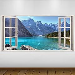 Idea Regalo - EXTRA GRANDE Blu Lake Montagne Natura 3D Vinile Sticker - Decalcomania Gigante da Parete in 3D - Adesivo a Base di Colla Vinilica - Quadri con Finestre - Adesivi da Parete 3D - Vinile di Arte Murale - Quadri per Muro - Poster Giganti -140cm x 70cm