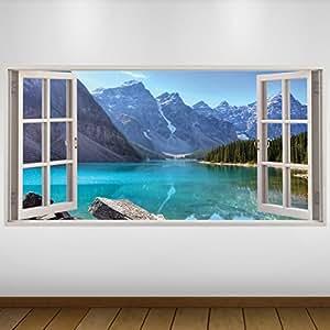 Extra grande blu lake montagne natura 3d vinile sticker decalcomania gigante da parete in 3d - Quadri con finestre ...