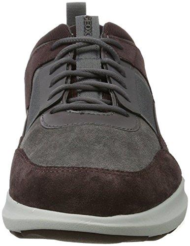 Geox Herren U Traccia B Sneaker Grau (Anthracite/Dk Burgundy)
